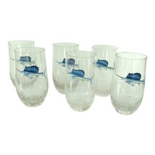 Crystal Glasses With Swordfish Bar Glasses - Set of 6 For Sale