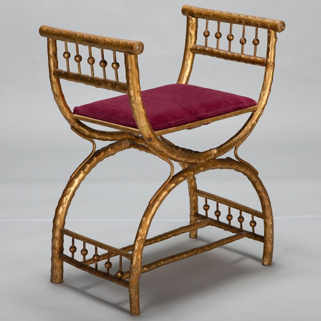 Gilt Wood Egyptian Style Stool With Velvet Seat For Sale - Image 4 of 5