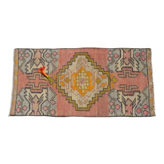 Low Pile Turkish Yastik Petite Rug Hand Knotted Distressed Mat Bath Rug - 17'' X 35'' For Sale