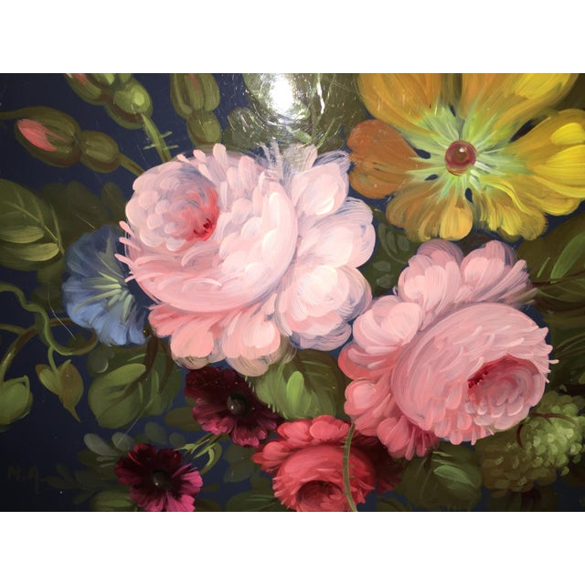 French Hand Painted Toleware Tray With Roses C.1950 - Image 4 of 8