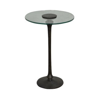 Hammered Brass Round Glass Top Pedestal Side Table