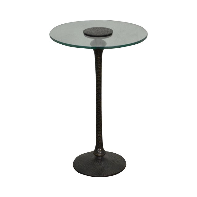 Hammered Brass Round Glass Top Pedestal Side Table For Sale