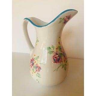 1980s Vintage Floral Ceramic Pitcher Preview