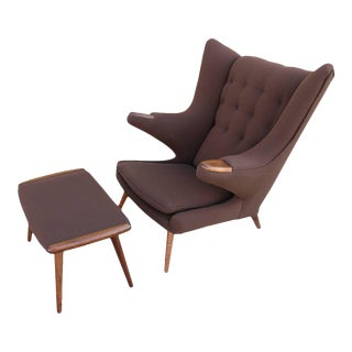 "After Hans Wegner ""Papa Bear"" Chair & Ottoman"