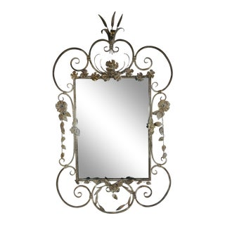 Wrought Iron French Country Wall Mirror For Sale