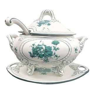 Portuguese Green Floral Porcelain Soup Tureen For Sale