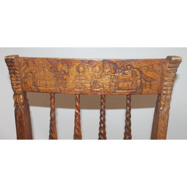 19th Century Handmade English Chess Carved Chair For Sale - Image 4 of 10