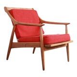 Image of Danish Modern Sculpted Walnut Lounge Chair, 1960s For Sale