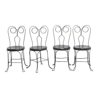 Metal Bistro or Ice Cream Parlor Chairs - Set of 4 For Sale