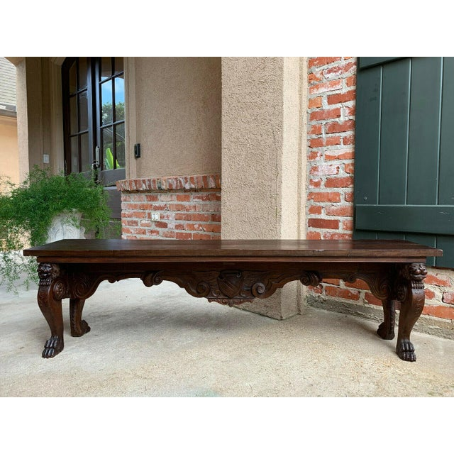 Brown 1900s Antique Italian Carved Walnut Renaissance Revival Bench Ottoman For Sale - Image 8 of 13