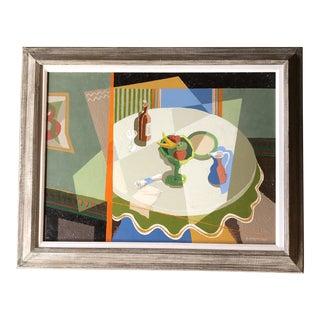 Alfred McNamara (American, 1911-1994) Original Painting Mid Century Modern Interior For Sale