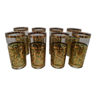1950s Culver 22k Gold Glassware - Set of 8 For Sale