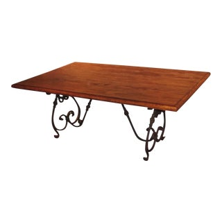 """""""French Market Collection"""" Rustic Wood and Wrought Iron Dining Table For Sale"""