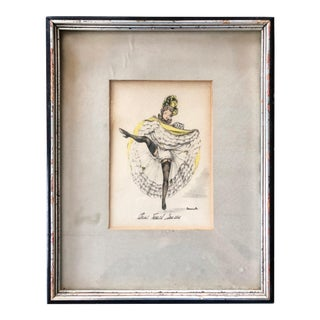 1960's Janicotte's Water-Color and Pencil Sketch Wall Art For Sale