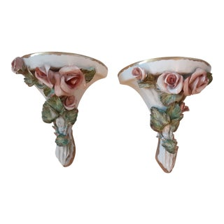 Italian Mid Century Capodimonte Rose Hollywood Regency Wall Sconce Brackets - Pair For Sale