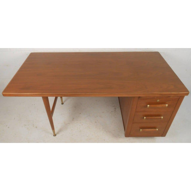 John Widdicomb Mid-Century Finished Back Executive Desk - Image 8 of 10