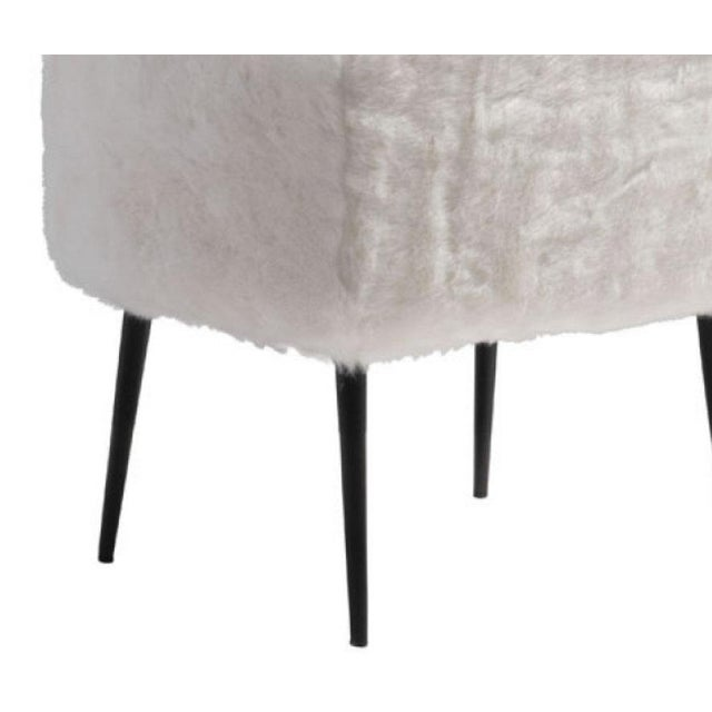 Mid-Century White Fur Stool - Image 2 of 2