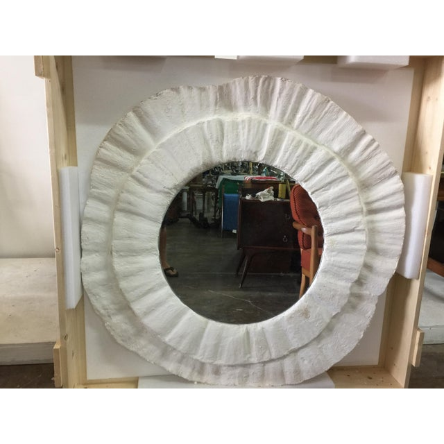 Late 20th Century French Plaster Wavy Round Wall Mirror For Sale - Image 5 of 6