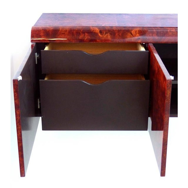 1970s Leon Rosen Pace Hanging Burl-Wood Credenza For Sale - Image 5 of 11