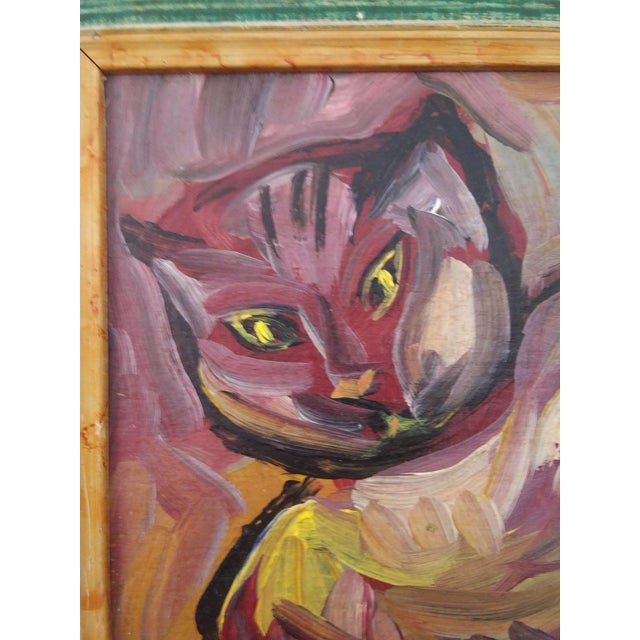 Clearly inspired by the works of Picasso, this is a colorful and affectionate cubist portrait of a cat. Perhaps sitting in...
