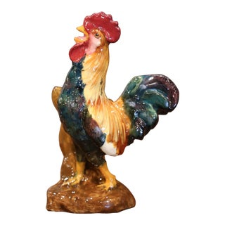 19th Century French Hand Painted Barbotine Rooster Vase Signed Dephin Massier For Sale