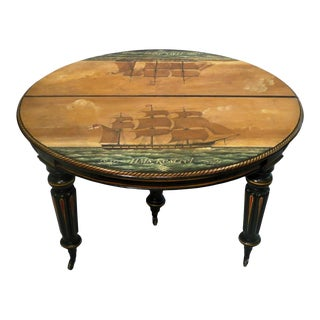 Antique Regency Period Breakfast Table W Nautical Ship Paintings For Sale