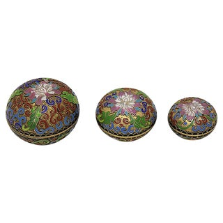 French Cloisonné Trinket Boxes, S/3 For Sale