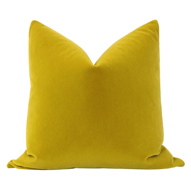 Pair of beautiful custom-made luxury mohair pillows in a saturated Chartreuse colorway. Meticulously handcrafted with...