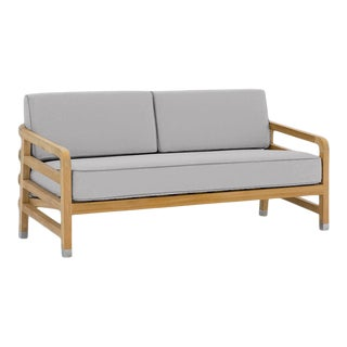 """Linley Small Sofa in Fashionable Grey with Moonlit Orchid Welt, 61"""" For Sale"""