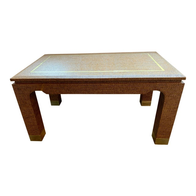 1970's Raffia Covered Side Table With Brass For Sale