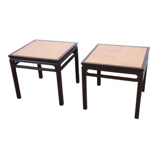 Michael Taylor for Baker Furniture Hollywood Regency Chinoiserie Burl Wood Side Tables, Pair For Sale
