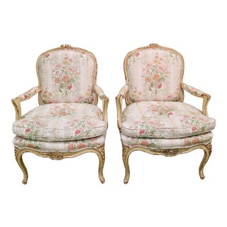 French Fauteuil Bergere Chairs, C. 1910