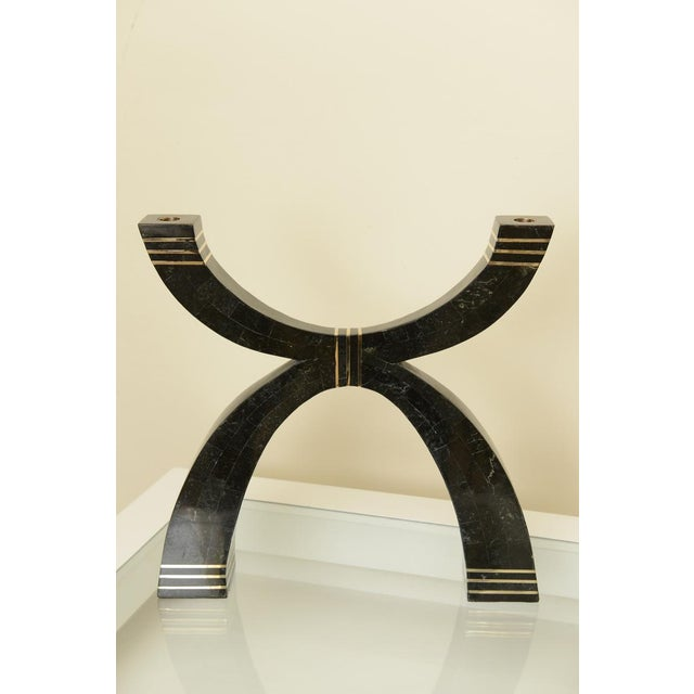 Modern Casa Bique Tessellated Stone and Brass Dramatic Candlebra/Candlestick For Sale - Image 3 of 8
