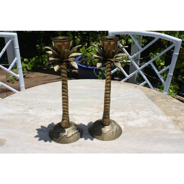 Vintage Brass Palm Tree Candleholders - a Pair - Image 6 of 7
