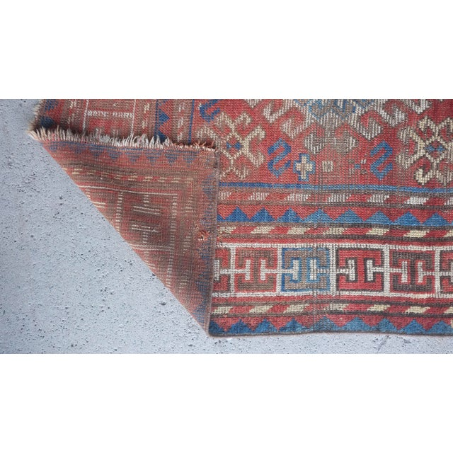 "Antique Distressed Caucasian Kazak - 3'9""x7'6"" For Sale - Image 4 of 9"