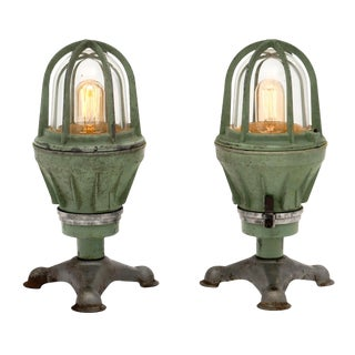 Italian Industrial Dock Lamps - a Pair For Sale
