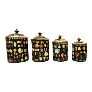 Vintage Shell Kitchen Canisters - Set of 4 For Sale