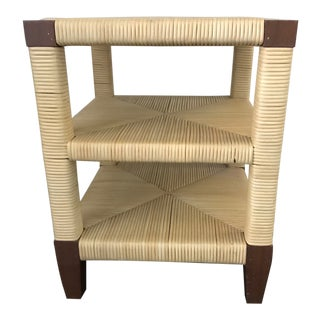 1990s Modern Donghia Merbau Rattan Occasional Table For Sale