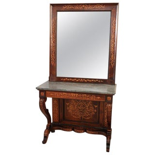 19th Century Italian Rosewood Inlay Marble Top Console Table With Mirror For Sale