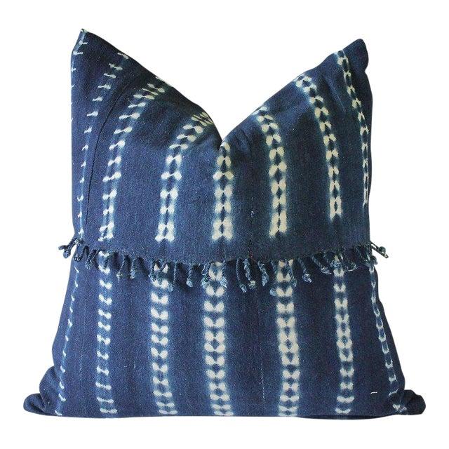 Antique Indigo Blue Batik Fringe Accent Pillow For Sale