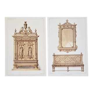 Pair-1878 French Lithographs-Renaissance Furnishings For Sale