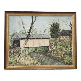 "Vintage ""Covered Bridge"" Original Oil Painting by Millward C.1974 For Sale"