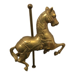Heavy Brass Carousel Horse on Green Marble Base