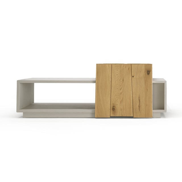 Wood Italian Solid Oak Coffee Table With Moving Tray For Sale - Image 7 of 7