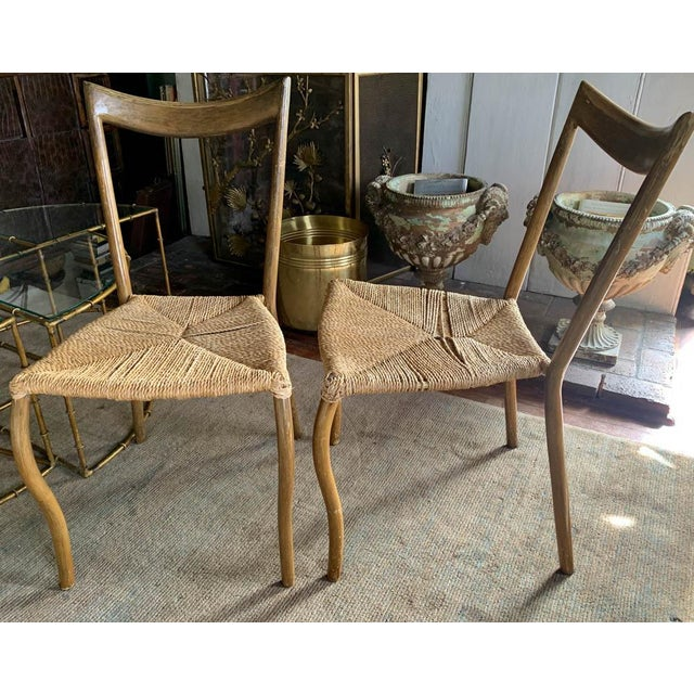 Pair, Mid Century Chairs With Rope Seats For Sale In New York - Image 6 of 12