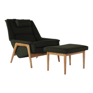 1960s Vintage Folke Ohlsson for Dux Lounge Chair With Ottoman For Sale