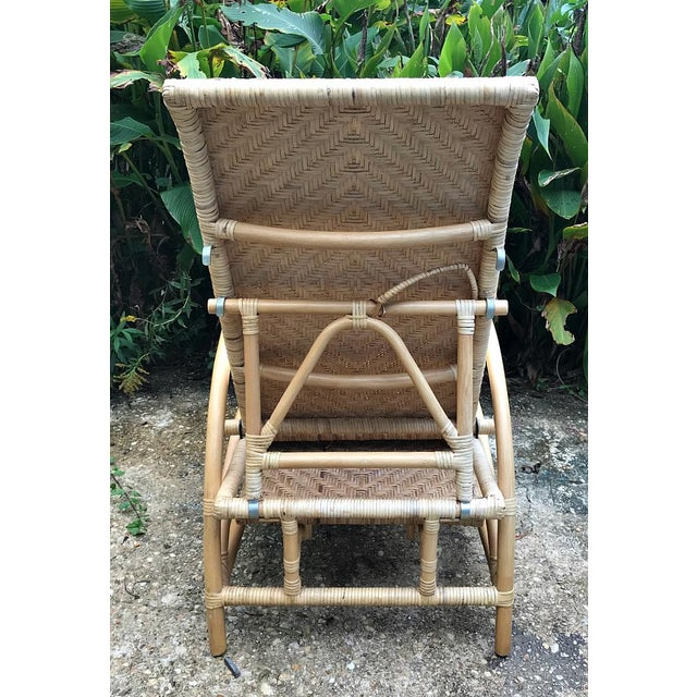 Vintage Rattan Bamboo Adjustable Chaise Lounge Chair For Sale - Image 6 of 10