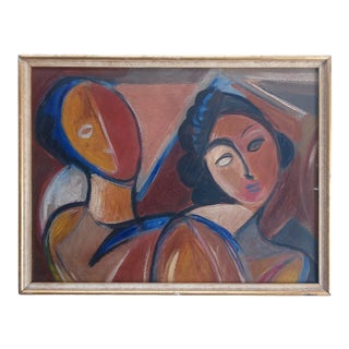 Late 20th Century Cubist Style Portrait of a Male and Female Oil Painting, Framed For Sale
