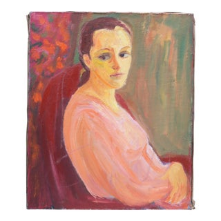 Mid-Century Oil Painting of French Woman For Sale