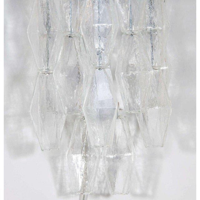 Mid-Century Modern Pair of Handblown Murano Glass Translucent Polyhedral Sconces For Sale - Image 3 of 6